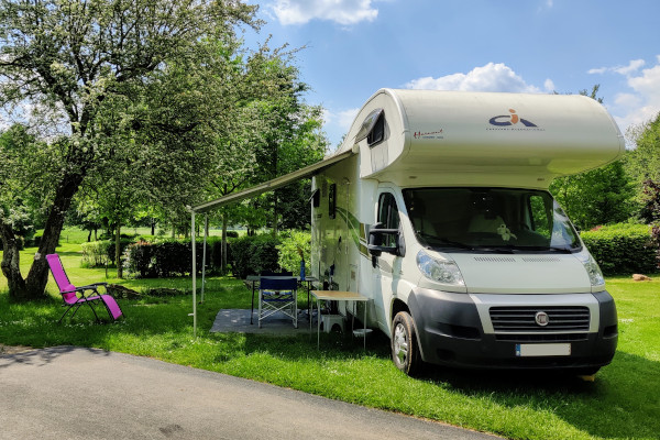 Camping pitch for camper